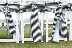 Bold stripes on wedding chairs