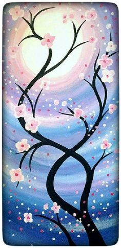 Ideas for painting inspiration flowers canvases Easy Canvas Painting, Painting & Drawing, Canvas Art, Canvas Paintings, Stone Painting, Body Painting, Flower Canvas, Tree Art, Beautiful Paintings