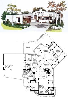 #SanteFe #HousePlan 99276 | Santa Fe styling creates interesting angles in this one-story home. A grand entrance leads through a courtyard into the foyer with circular skylight, closet space and niches, and convenient powder room. Turn right to the master suite with deluxe bath and a bedroom close at hand, perfect for a nursery, home office or exercise room. Two more family bedrooms are placed quietly in the far wing of the house.
