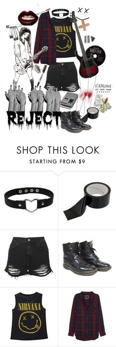 """Juliet Who'd Rather Have Ramona Than Romeo"" by causingpanicatthetheater ❤ liked on Polyvore featuring Topshop, Dr. Martens, Rails, Sharpie and CASSETTE"