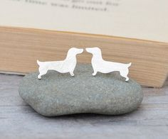 Dachshund Earring Studs, Sausage Dog Earring Studs, Puppy Earring Studs, Doggy Stud Earrings, Handmade In The UK Earring Studs, Stud Earrings, Dachshund, Argent Sterling, Sterling Silver, Silver Cleaning Cloth, Inked Shop, Tarnished Silver, Beautiful Handmade Cards