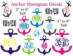 Anchor Monogram Car Decal / Personalized Vinyl Sticker / Computer Decal / Wall Vinyl / 2 Inches Tall to 8 Inches Tall on Etsy, $8.00