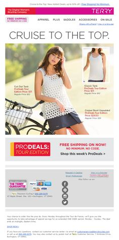 Product Recommendations email from Terry Bicycles #EmailMarketing #Email #Marketing #Sports #Hobbies #Fashion #Product #Recommendations #Banner