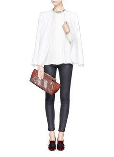 LANVIN - Trilogy croc-embossed clutch - on SALE | Pink Day Clutches | Womenswear | Lane Crawford - Shop Designer Brands Online