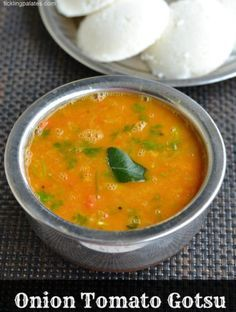 Onion Tomato Gotsu or simply called as Thakkali Kosthu is a side dish that's served with idli and dosas that's popular in my native Kumbakonam and Tanjore. Carrot Recipes, Veg Recipes, Side Dish Recipes, Indian Food Recipes, Gourmet Recipes, Vegetarian Recipes, Cooking Recipes, Ethnic Recipes, Recipies