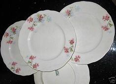 Lot of 4  1910-1920 H.R.Wyllie Flowered Dessert Plates