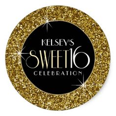 Sweet 16 Faux Gold Glitter Envelope Seal