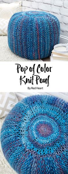 Pop of Color Knit Pouf free knit pattern in Evermore yarn.