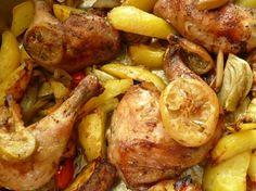 Hühnchen mit Salzzitronen auf Ofengemüse