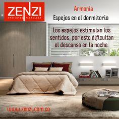 Espejos en el dormitorio: Los espejos estimulan los sentidos, por esto dificultan el descanso en la noche. En caso de tener uno procura taparlo con una manta y descansarás mejor. www.zenzi.com.co