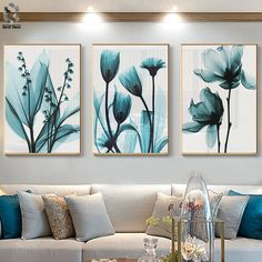 Nordic Canvas Painting Flowers Poster Blue Floral Wall Art Print for Vintage Living Room Decorative Wall Pictures Flower Painting Canvas, Flower Canvas, Painting Flowers, Flower Frame, Spray Painting, Flower Art, Living Room Pictures, Wall Art Pictures, Art Mural Floral