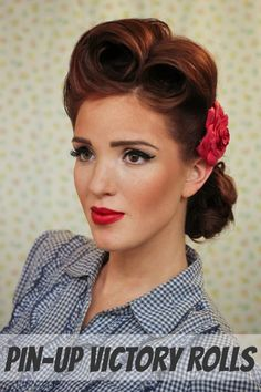 The Freckled Fox: Modern Pin-up Week: #2 - Pin-up Victory Rolls Look Retro, Look Vintage, Vintage Updo, Retro Vintage, Vintage Makeup, Easy Vintage Hairstyles, Wedding Hairstyles, Pin Up Hairstyles, Gorgeous Hairstyles