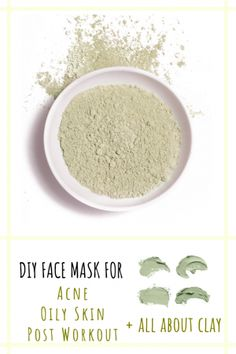 DIY Face Mask for acne, oily skin, and clear pores. Clay is amazing for it's antibacterial and healing properties. Find out which type of clay is best for you and try these easy face mask recipes with clay, aloe vera, and charcoal. #pimples #acne #oilyskin #facemask #skincare #diy #naturalbeauty #diyfacemask #diybeauty #claymask #charcoalmask #blackfacemask #cleanbeauty