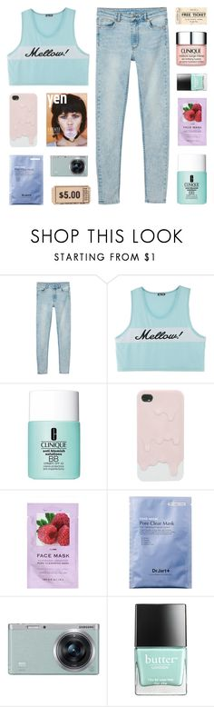 """what's in love is now in debt"" by kristen-gregory-sexy-sports-babe ❤ liked on Polyvore featuring Monki, Clinique, H&M, Samsung and Butter London"