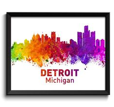 Detroit Skyline Michigan City Colorful by CityPrintsYourWay