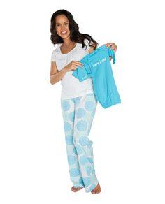 45554dee1b6 Eden Maternity Nursing PJ s   Matching Aqua Baby Receiving Gown Set