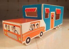 Vintage 1967 Howard Johnson's Caravan Travel Trailer Kid Menu Premium Paper Toy