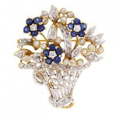 18k Yellow Gold Blue And White Sapphires Brooch Pendant