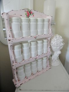 Adorable Vintage White Milk Glass Spice Jar Set With Shabby Chic Pink Holder…