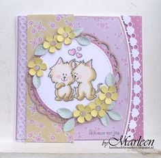 Handmade card by DT member Marleen with Clear Stamp playset Beste Maatjes (HT1607), Craftables Flower Set - Fancy (CR1356), Passe Partouts (CR1360), Creatables Flower Doily (LR0388), Build-a-Rose (LR0398) and Hearts & Cotton Lace (LR0413) from Marianne Design