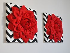 Nothing says Love better than red roses, but give her Nursery a rose that she will Love forever. Select your own color and polka dot print to create your very own set upon checkout, or contact us today to create something unique just for you and your space! Set of Two Red Rose Flowers on
