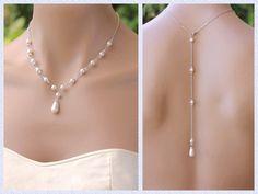 Pearl Back Drop Necklace Swarovski Pearl Bridal by JamJewels1