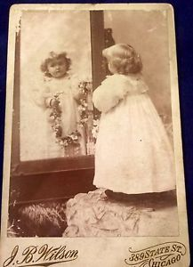 Beautiful Girl Reflection in Mirror Cabinet Card Chicago, Identified c.1880  in…