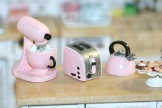 Dollhouse Miniature Kitchen appliances: Mixer, toaster and  kettle, pale pink by…