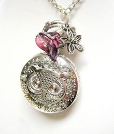 Owl Pocket Watch Necklace  Silver Owl with Purple by mktENGINEER, $18.50
