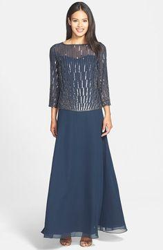 J Kara Beaded Mock Two Piece Gown on shopstyle.com