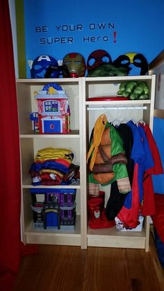 Genial Superhero Dress Up Station Created By Using 2 Ikea Billy Bookcases