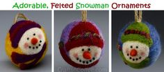 These needle-felted snowman ornaments are adorable! There's an easy-to-follow tutorial to make them on CraftsnCoffee.com.