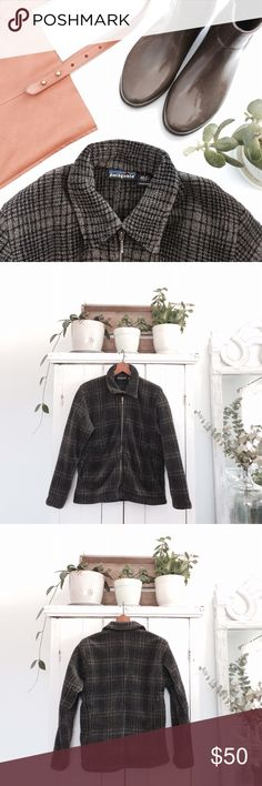 Patagonia full zip plaid fleece Women's Patagonia full zip green and black plaid fleece. Super warm and cozy! Great condition with slight wear to fleece. Not fitted but a looser style. Bust 19 1/2 inches. Length 23 inches. Sleeve length 23 inches. Great for hiking! Patagonia Jackets & Coats