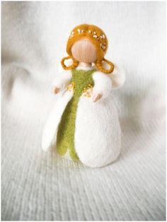Needle Felted Waldorf Wool Fairy. Flowers Fairy snowdrops by ToysFromDreams on Etsy https://www.etsy.com/ca/listing/270489123/needle-felted-waldorf-wool-fairy-flowers
