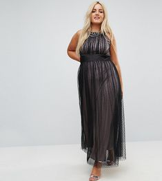 Plus Size Dress for party -  Plus Size Embellished Top Dotty Mesh Maxi Dress #plussizedresses #plussizepromdresses