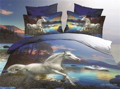 Blue horse swan tree animal print bedding set sets for queen size duvet cover bedspread bed in a bag sheet fashion