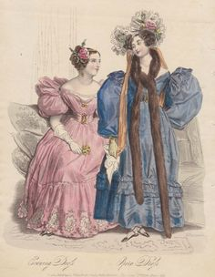The heavy ornamentation of skirts seen in the 1820s has diminished but lingers on into the early 1830s, as we can see in the evening dressa nd opera dress from March's La Belle Assemblée. Long fur tippets, or boas, will remain in fashion throughout the decade
