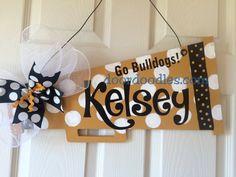 Items similar to Megaphone personalized door hanger wooden on Etsy Locker Signs, Door Signs, Cheer Locker Decorations, Christmas Classroom Door, Football Signs, Football Wreath, Cheer Gifts, Team Gifts, Cheer Bows