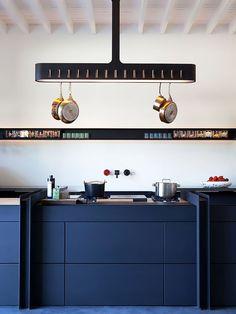 Cozinha Azul Linhas Retas