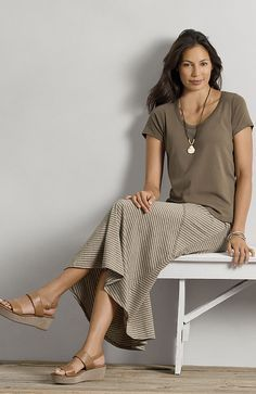 J. Jill Skirts | love linen > pima striped seamed skirt at J.Jill Love this outfit ...