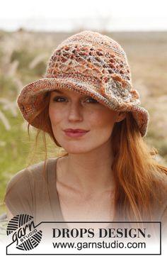 Crochet DROPS hat with flower. Free Pattern.