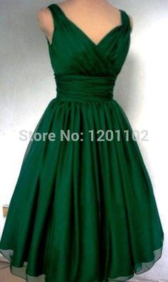 Robe De Festa 2016 nouveau parti De la mode élégante robe col V V retour larges bretelles plissé vert émeraude Tulle court robe De Cocktail