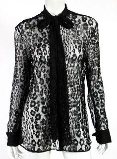 TOM FORD  2,290 Black Leopard Pattern Lace Bow Collar Blouse 48  TomFord   Blouse  EveningOccasion e05e66fc04e7