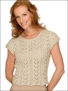 Free Short-sleeved Sweater Knitting Patterns - Rich Fronds Knit Top Pattern -- Free Knitting Design