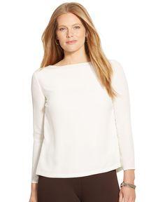 Lauren Ralph Lauren Plus Size Split-Back Top