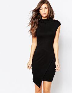 Image 1 ofASOS Asymmetric High Neck Bodycon Dress