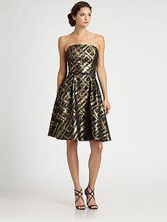 ML Monique Lhuillier Brocade Dress