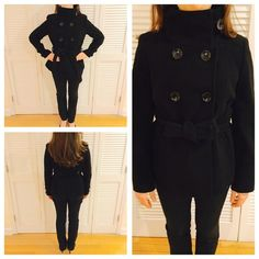 Zara Peacoat Size large. Outer shell: 80% wool. 20% nylon. Lining: 100% rayon. Tie belt attached. 2 front side pockets. In great shape! Zara Jackets & Coats Pea Coats