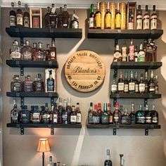 home accents shelves Reclaimed Wood Accent Shelves Industrial Rustic Genuine Diy Home Bar, Home Bar Decor, Diy Bar, Bars For Home, Basement Bar Designs, Home Bar Designs, Small Basement Bars, Man Cave Room, Man Cave Home Bar