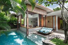 One Bedroom Villa in Seminyak Resort Covers 140 Square Metres and is Surrounded by leafy Balinese plants bordering your private pool. Bali hotel one bedroom private villa. Hotel Bali, Casa Hotel, Villa Design, House Design, Design Design, Piscina Interior, Haus Am See, Luxury Swimming Pools, Resort Villa